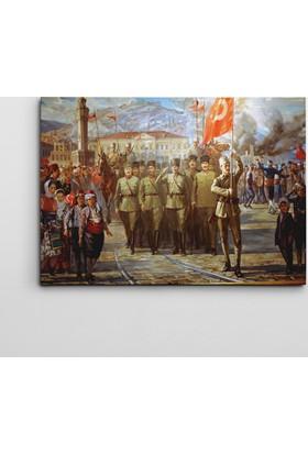 Dekolata Atatürk Ve Askerle Yağlı Boya1 Kanvas Tablo