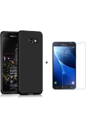Case 4U Samsung Galaxy J7 Prime Kılıf Silikon Siyah + Cam Ekran Koruyucu