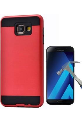 Case 4U Samsung Galaxy A7 2017 Kılıf Sert Korumalı Kapak Kırmızı + Cam Ekran Koruyucu