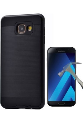 Case 4U Samsung Galaxy A7 2017 Kılıf Sert Korumalı Kapak Siyah + Cam Ekran Koruyucu