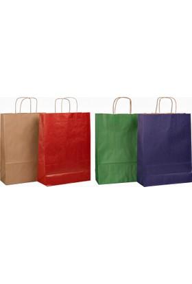 Menteşoğlu Kağıtçılık Naturel Kraft Kağıt Poşet Ve Renkleri 32X41X2Cm 50Adet