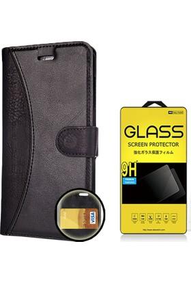 CoverZone General Mobile Gm5 Plus Kılıf Cüzdanlı Deri + Cam