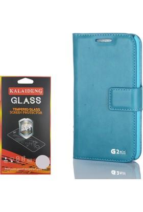 Gpack LG G2 Mini Kılıf Standlı Serenity Cüzdan +Cam