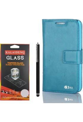 Gpack LG G2 Mini Kılıf Standlı Serenity Cüzdan +Kalem +Cam
