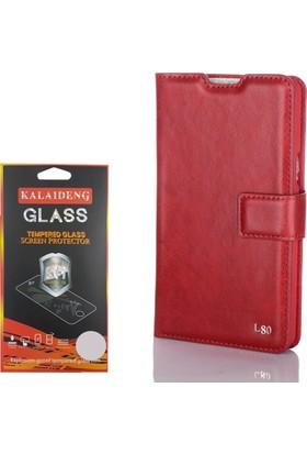 Gpack LG L80 Kılıf Standlı Serenity Cüzdan +Cam