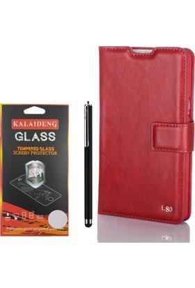 Gpack LG L80 Kılıf Standlı Serenity Cüzdan +Kalem +Cam