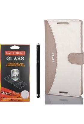 Gpack Lenovo A7010 Kılıf Standlı MMC Deri Cüzdan +Kalem +Cam