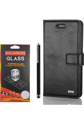 Gpack Lenovo S90 Kılıf Standlı Serenity Cüzdan +Kalem +Cam