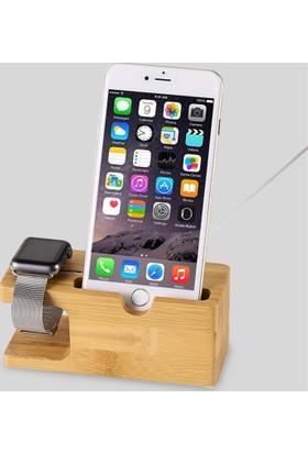 Trendelektro Apple Watch İphone Bambu Ahşap Masa Üstü Stand Dock