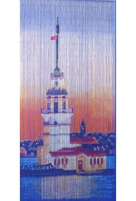 Evistro Bambu Kapı Perdesi Sineklik Kız Kulesi Baskılı