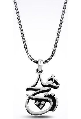 Mina Silver Hiç Hat Yazılı Taşsız Gümüş Erkek Kolye
