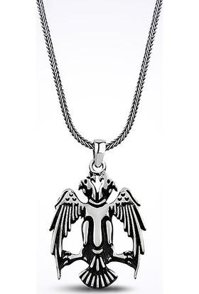Mina Silver Ahlat Anadolu Selçuklu Çift Başlıklı Kartal Taşsız Gümüş Erkek Kolye
