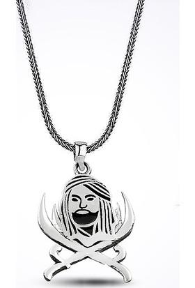 Mina Silver Hz. Ali Çift Başlı Muhteşem Zülfikar Kılıç Taşsız Gümüş Erkek Taşsız Kolye