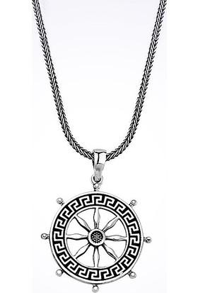 Mina Silver Denizci Dümeni Yelkenler Fora Taşsız Gümüş Erkek Kolye