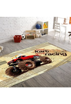 Seroni Karting Dijital Baskı Patchwork Çocuk Halısı
