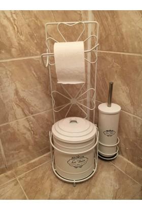 Evistro Ferforje Tuvalet Kağıdı Askısı Tuvalet Fırçası ve Çöp Kovası Seti Beyaz