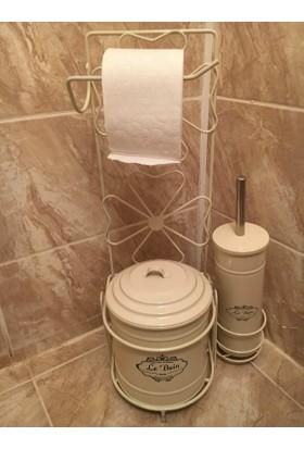 Evistro Ferforje Tuvalet Kağıdı Askısı Tuvalet Fırçası ve Çöp Kovası Seti Krem
