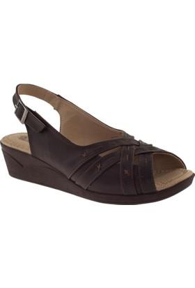Muya 90468 Geçme Bantlı Ön Açik Kahverengi Kadın Sandalet