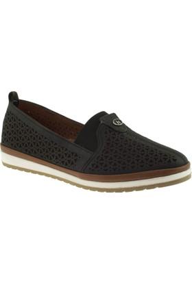 Cute 5103 Lastikli Hakiki Deri Siyah Kadın Ayakkabı