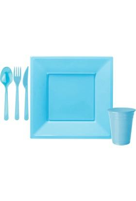 Kullanatmarket Bebek Mavisi Büyük Kare Sofra Seti 8 Kisilik