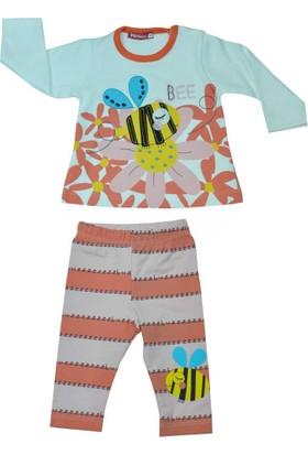 Minidon 9015 Çiçekli Arılı Kız Bebek Takımı