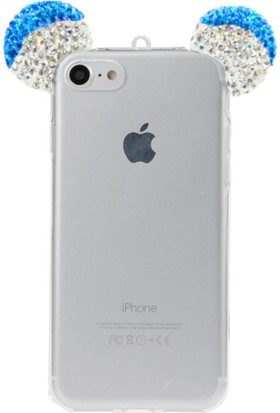SaRa Apple iPhone 6 6s Plus Mickey Mouse Tavşan Kulaklı Taşlı Silikon Kılıf