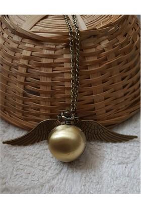 Köstebek Harry Potter Saatli Golden Snitch Kolye Gold