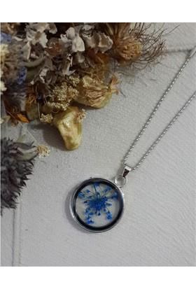 Köstebek Mavi Küçük Çiçekli Kolye
