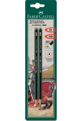 Faber Castell Bls. Castell 9000 Dereceli Kurşunkalem 2B-HB, 2'li