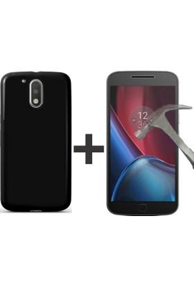 Case 4U Lenovo Moto G4 Plus Kılıf Premier Silikon Siyah + Nano Ekran Koruyucu