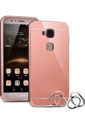 Case 4U Huawei G8 Kılıf Aynalı Metal Bumper Rose Gold + Cam Ekran Koruyucu*