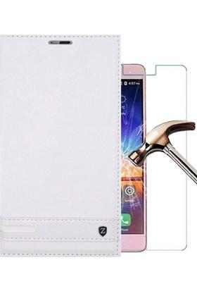 Case 4U Lenovo K6 Note Kılıf Elite Kapaklı Beyaz + Cam Ekran Koruyucu