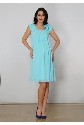 Entarim Hamile Şifon Elbise 9876 Mint Yeşil