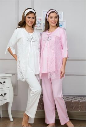 Baha Lohusa 3'Lü Pijama Takım 3116 Ekru
