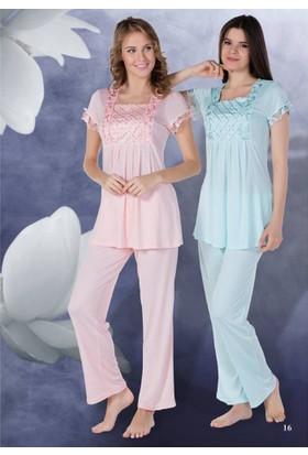Bone lı Lohusa Pijama Takım 4306 Somon