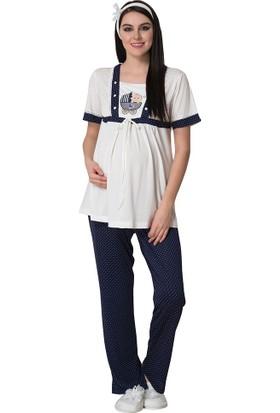 Mecit Lohusa Emzirme Pijama Takım 1617 Lacivert