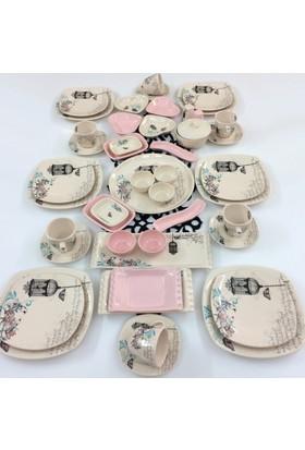 Keramika Retro Açik Pembe 47 Parça 6 Kişilik Kahvaltı Takımı