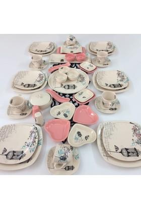 Keramika Retro Pembe 47 Parça 6 Kişilik Kahvaltı Takımı