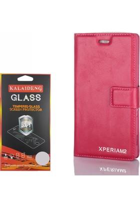 Gpack Sony Xperia M2 Kılıf Standlı Serenity Cüzdan +Cam