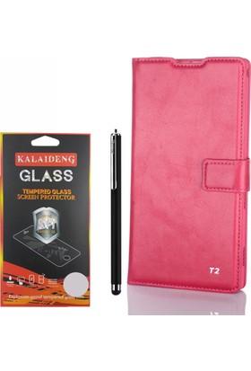 Gpack Sony Xperia T2 Ultra Kılıf Standlı Serenity Cüzdan +Kalem +Cam