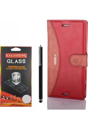 Gpack Sony Xperia X Kılıf Standlı Serenity Cüzdan +Kalem +Cam