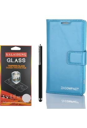Gpack Sony Xperia Z3 Compact Kılıf Standlı Serenity Cüzdan +Kalem +Cam