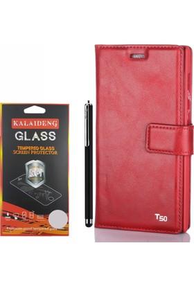 Gpack Turkcell T50 Kılıf Standlı Serenity Cüzdan +Kalem +Cam