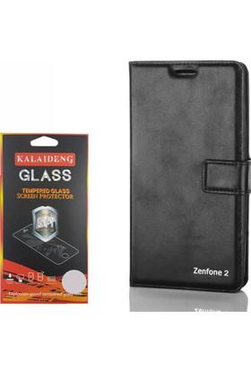 Gpack Asus Zenfone 2 Kılıf Standlı Serenity Cüzdan +Cam
