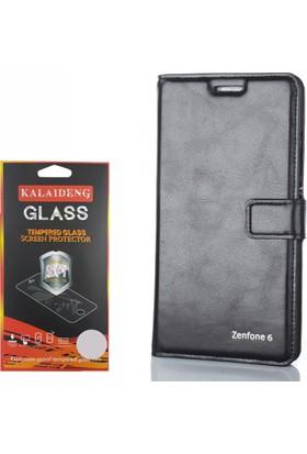 Gpack Asus Zenfone 6 Kılıf Standlı Serenity Cüzdan +Cam