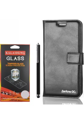 Gpack Asus Zenfone Go Kılıf Standlı Serenity Cüzdan +Kalem +Cam