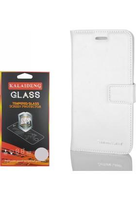 Gpack Asus Zenfone Laser 5.5 Kılıf Standlı Serenity Cüzdan +Cam