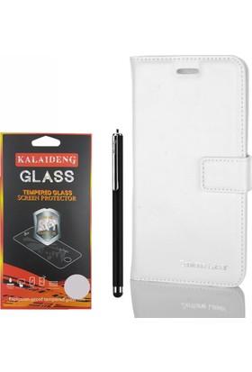 Gpack Asus Zenfone Laser 5.5 Kılıf Standlı Serenity Cüzdan +Kalem +Cam