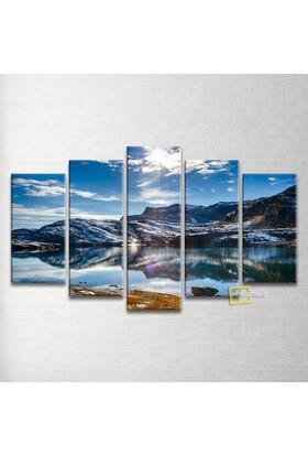 Plustablo Deniz Ve Dağ Manzaralı 5 Parça Kanvas Tablo