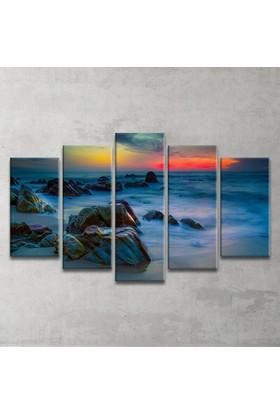 Plustablo Deniz Manzaralı 5 Parça Kanvas Tablo